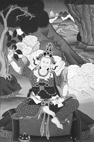 香巴拉的第一位國王:達瓦·桑波 Dawa Sangpo。唐卡繪製:Ngodrup Rongae