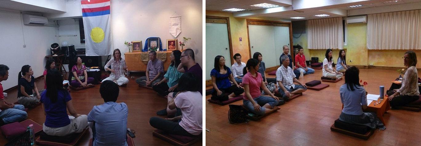2013年中學士Shastri Holly Gayley在台北教授「創造覺悟社會」與傳授薩姜所撰之「香巴拉儀軌」